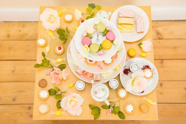 Table with assortment of cakes and confectionery
