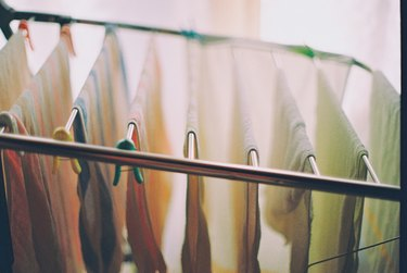 High Angle View Of Towels Drying On Rack At Home