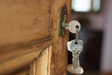 lock with keys in the old or retro door, vintage