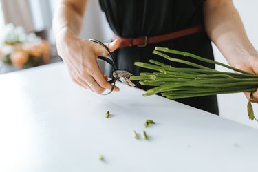 Midsection Of Florist Cutting Plant Stems At Table In Shop