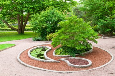 Ornamental garden with small water lily pond