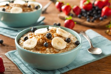 Homemade steel cut bowl of oatmeal in blue bowl