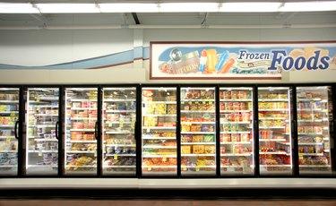 Frozen food department of grocery store.