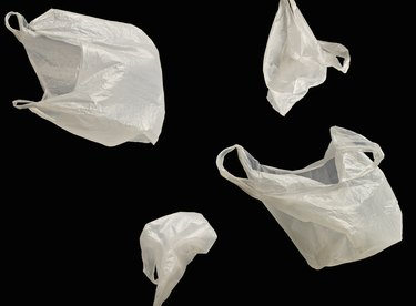 White plastic bags floating in space