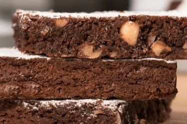 Close-Up Of Chocolate Brownie With Sugar Icing