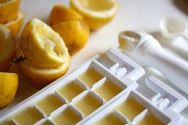 Lemon juice ice-cubes