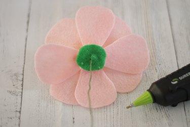 attach green felt to flower bottom and add stem