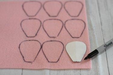 trace petal pattern onto felt