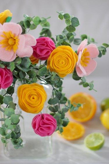 arranged felt flower bouquet