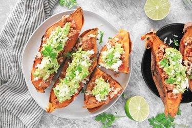 Turkey taco stuffed sweet potatoes