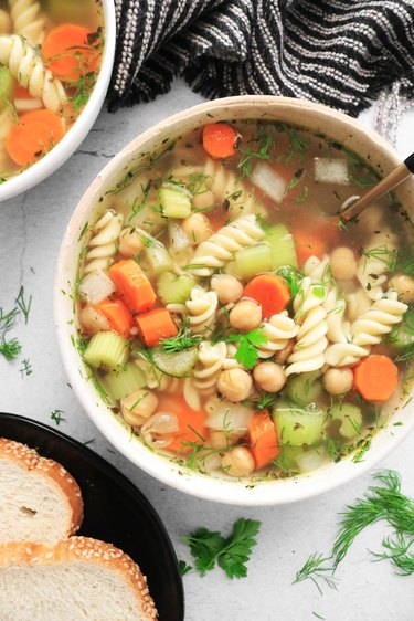 Completed vegan chickpea noodle soup