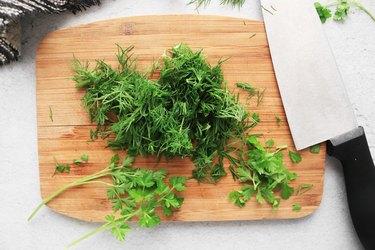 Chop fresh herbs