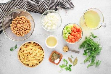 Ingredients for vegan chickpea noodle soup
