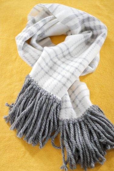 completed no-sew fleece fringe scarf