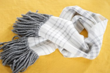 warm and cozy no-sew fleece fringe scarf