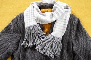 no-sew fleece fringe scarf with jacket