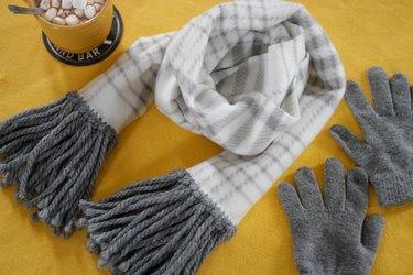 DIY no-sew fleece fringe scarf