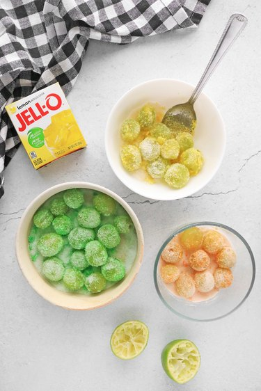 Coat grapes with flavored gelatin