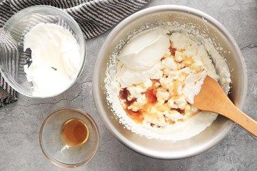 Fold in sour cream and vanilla