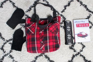 Bring a cozy feeling into a winter tote by creating this bag from a thrift store find or make a super-special cuddly tote from the shirt of a loved one.