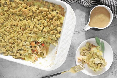 Thanksgiving dinner turkey casserole