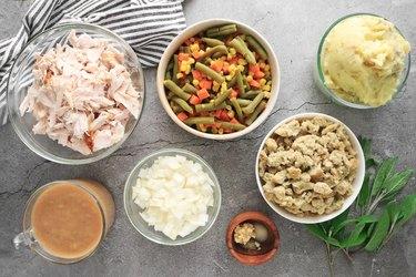 Ingredients for Thanksgiving dinner turkey casserole