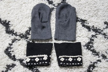 Take an old flannel shirt that's been hanging around the thrift store or maybe even a loved ones old shirt to create some mittens.