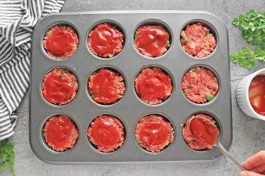 Bake meatloaf muffins