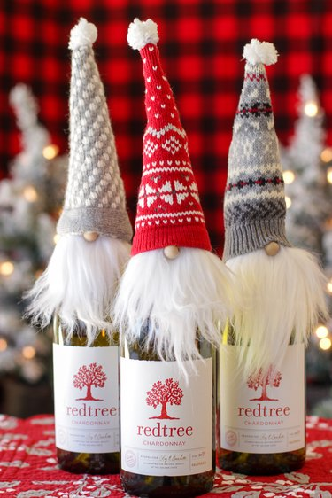 Holiday gnome bottle topper