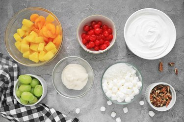 Ingredients for traditional ambrosia salad
