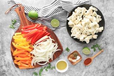 Ingredients for sheet pan cauliflower fajitas