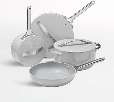 Caraway cookware in gray.