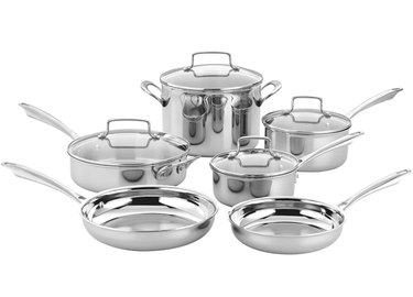 Cuisinart Tri- Ply Stainless Steel Cookware Set in silver.