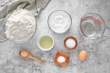 Ingredients for homemade baked soft pretzels