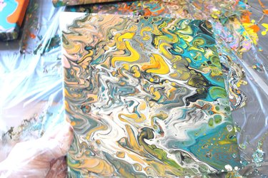 canvas with colorful paint pattern