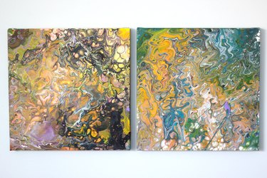 two completed canvases using inverted cup method