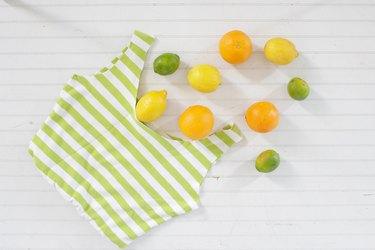finished no-sew produce bag