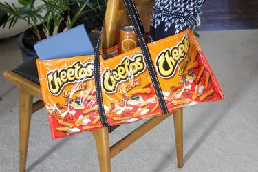 finished snack bag tote hanging on chair