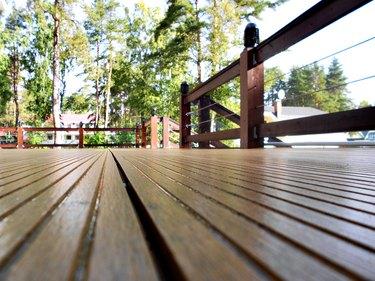 Wooden terrace seen from the floor