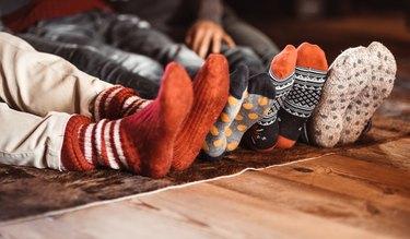 Christmas socks at home