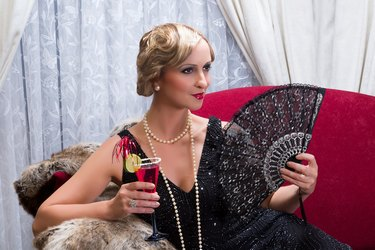 Vintage cocktail and fan