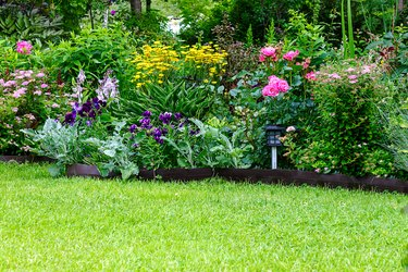 Summer garden with beautiful flowers blooming and a well-tended green lawn.