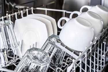 White cups in new dishwasher