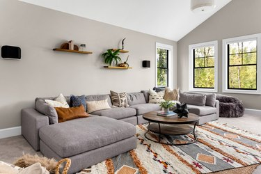 Living room with colorful area rug