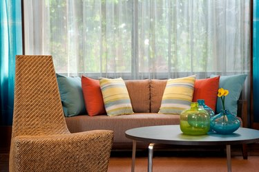 Colorful throw pillows on sofa