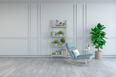 Minimalist Room Interior Design, Light Blue  Lounge Chair With Plant In White Room