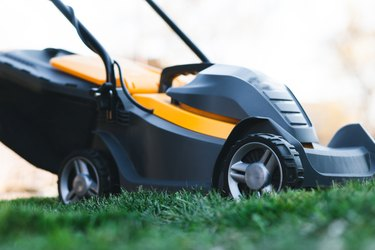 Electric lawn mower on a lawn at the garden. Gardening concept