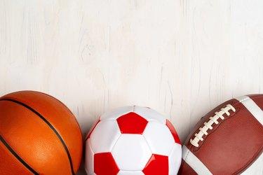 Basketball, soccer ball and football