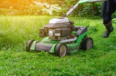 Lawn Mower On Green Grass Lawn
