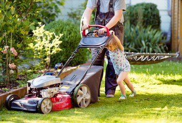 Happy little toddler girl and middle-aged father with lawn mower. Family, daughter, preschool child and dad cut the lawn. Portrait of family working in garden, trimming grass. Garden works in summer.